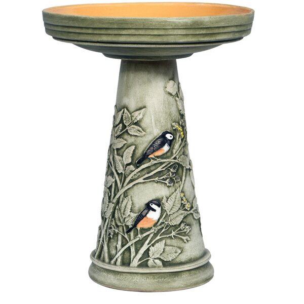 Burley Clay Handpainted Chickadee Birdbath by Birds Choice