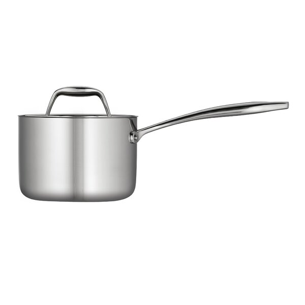 Gourmet Tri-Ply Clad Stainless Steel Sauce Pan with Lid by Tramontina