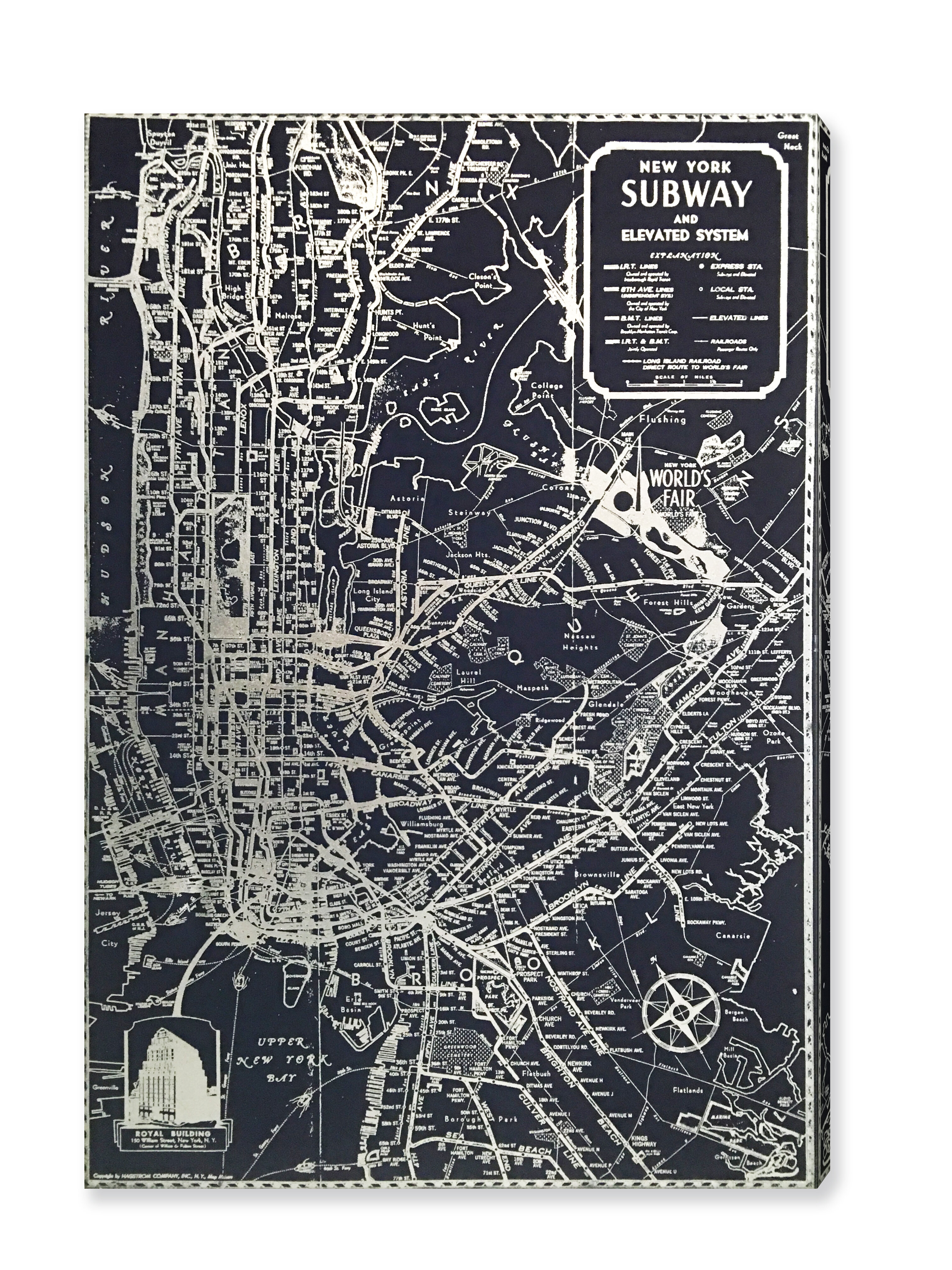aeb33aa8b5b Mercury Row  Silver NYC Lines  Silver Foil Graphic Art on Wrapped Canvas    Reviews