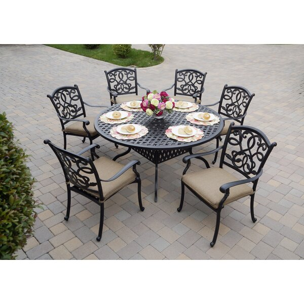 Calhoun Traditional 7 Piece Dining Set with Cushions by Fleur De Lis Living