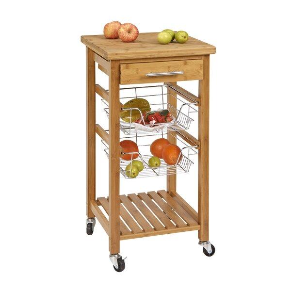 Danial Bamboo Kitchen Bar Cart by Highland Dunes