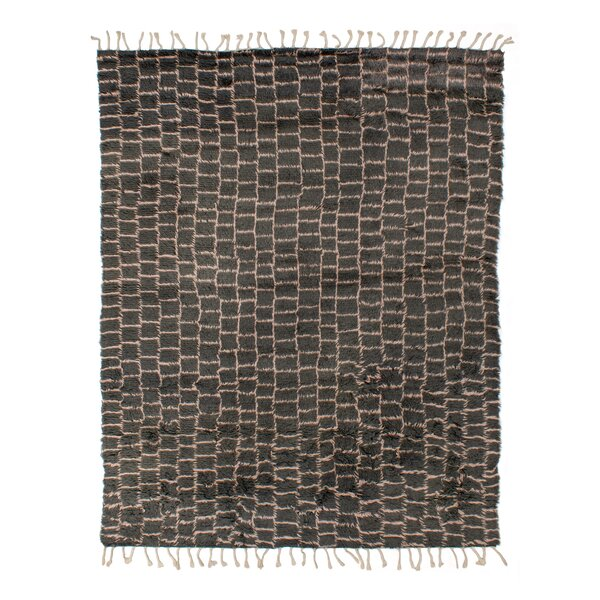 Grit and Ground Checkered Hand Knotted Gray Rug