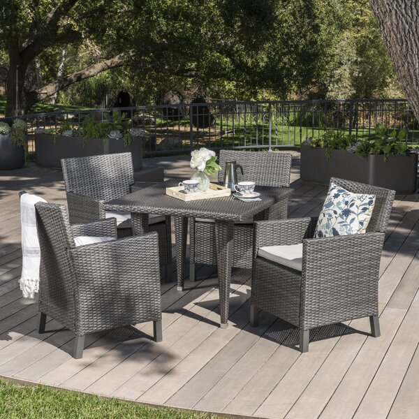 Reidy Outdoor Wicker Rectangular 5 Piece Dining Set with Cushions by Orren Ellis