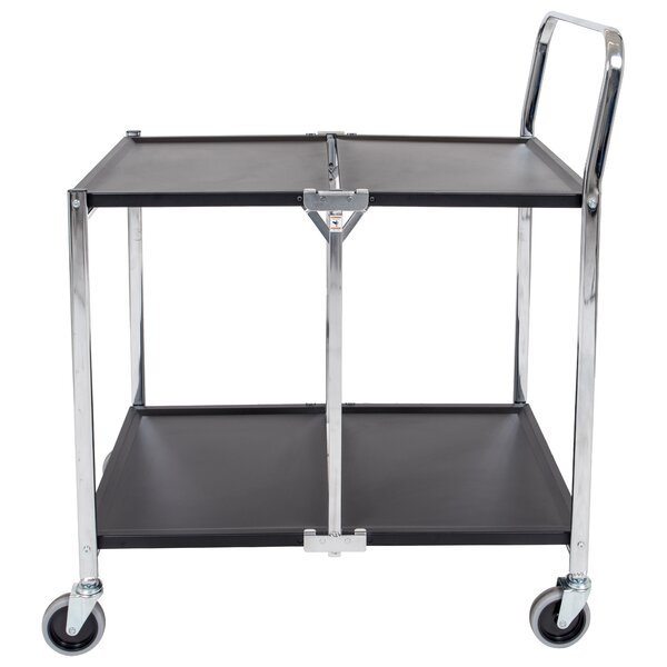 Two-Shelf Collapsible Metal Utility Cart by Luxor