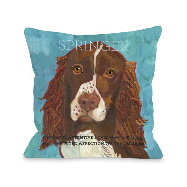 Doggy Décor Springer Throw Pillow by One Bella Casa