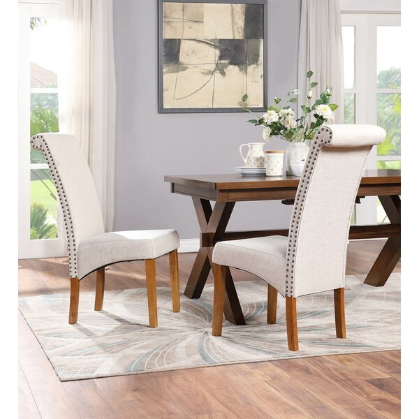 Leroy Linen Upholstered Solid Wood Dining Chair (Set Of 2) By Gracie Oaks