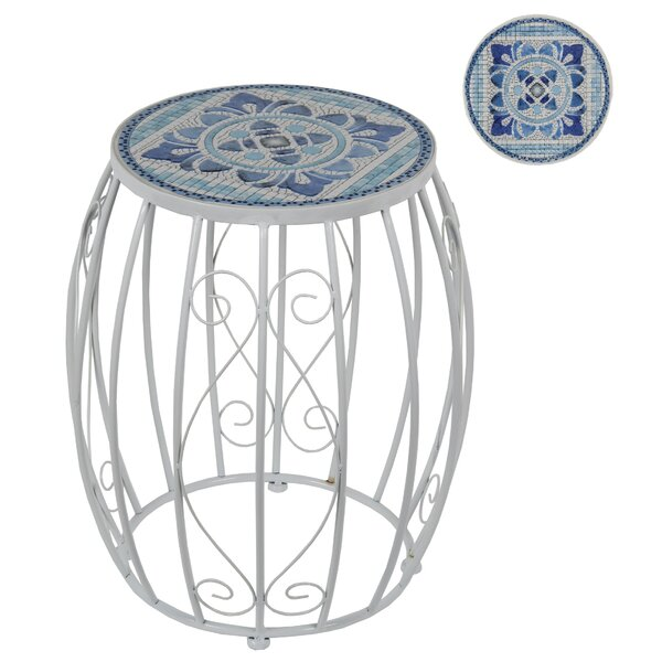 Dahlia Tile Garden Stool by Rosecliff Heights