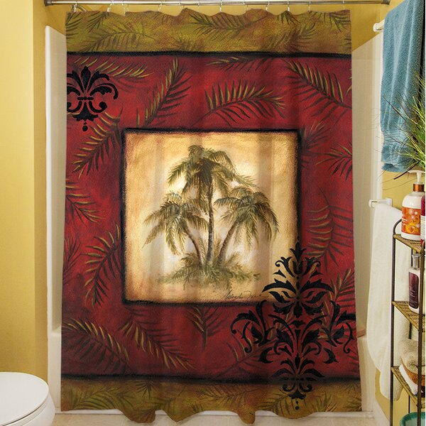 Palm Breezes V Shower Curtain by Manual Woodworkers & Weavers
