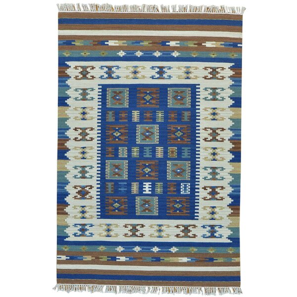 Flat Weave Anatolian Kilim Reversible Oriental Hand-Knotted Blue/Cream Area Rug by Bloomsbury Market