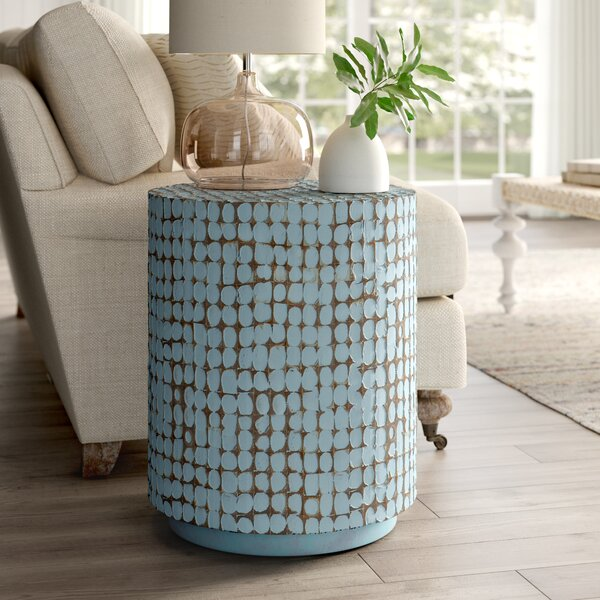 Review Sherlyn Solid Wood Drum End Table