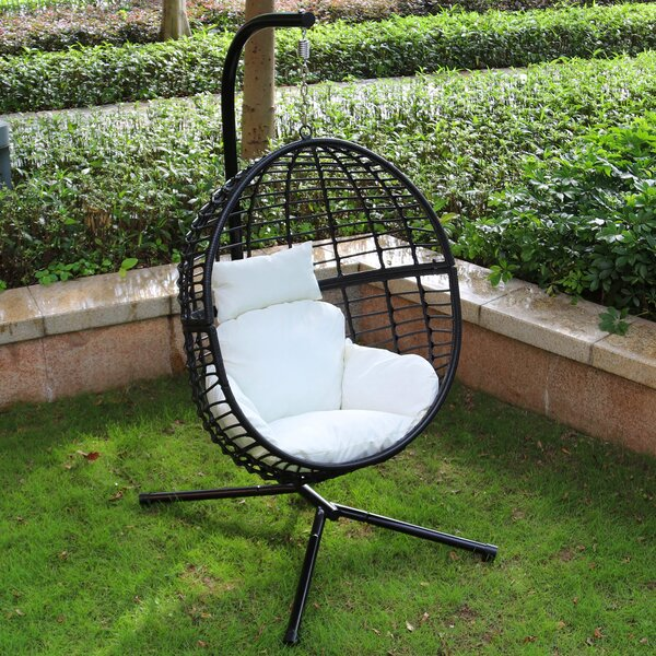 Wolsingham Outdoor Wicker Hanging Basket Swing Chair with Stand by Bungalow Rose