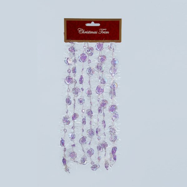 Rose Iridescent Beaded Christmas Garland with Tinsel by The Holiday Aisle