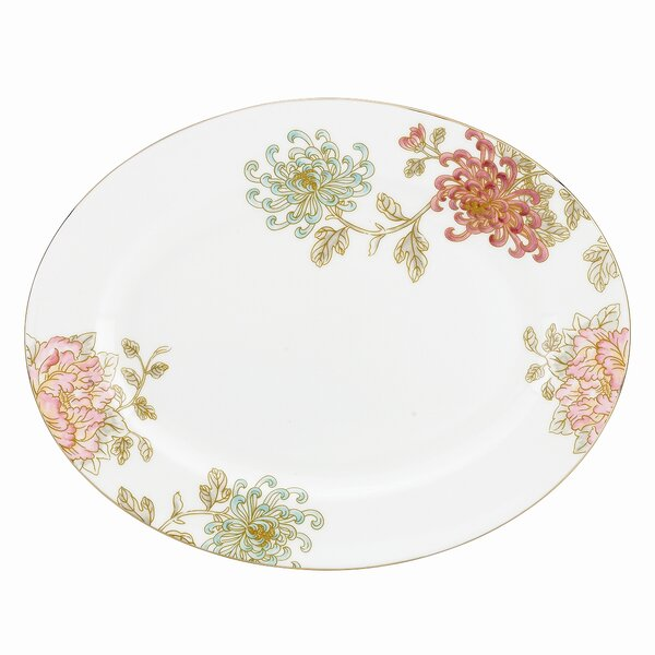 Painted Camellia Oval Platter by Marchesa by Lenox