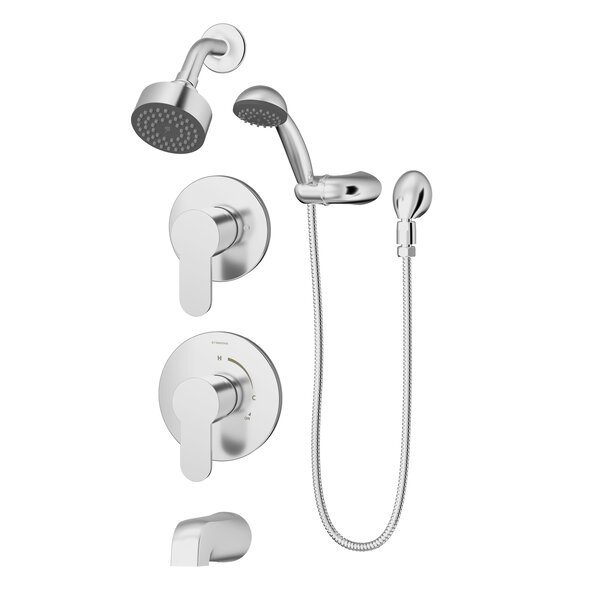 Identity Pressure Balance Spray Tub and Shower Faucet with Metal Lever Handles by Symmons