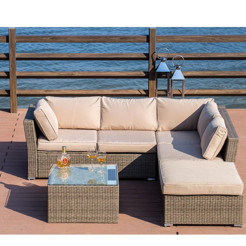 Mercury Row Amesbury 4 Piece Rattan Sectional Set With Cushions U0026 Reviews |  Wayfair