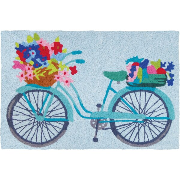 Mcginty Flower Basket on Bicycle Hand-Tufted Blue/Red/Pink Indoor/Outdoor Area Rug by August Grove