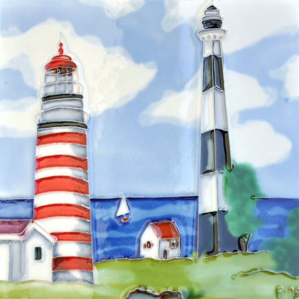 2 Light Houses Tile Wall Decor by Continental Art Center