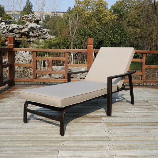 Rolla Outdoor Aluminum Reclining Chaise Lounge with Cushion (Set of 2)