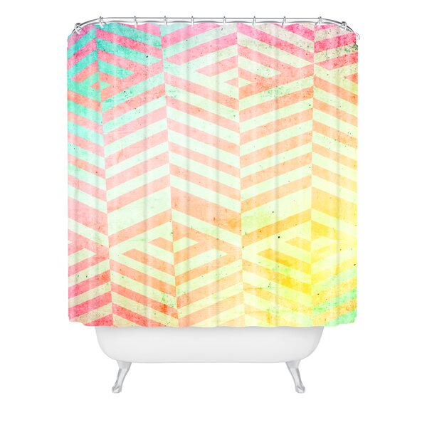 Emanuela Carratoni Colored Chevron Pattern Shower Curtain by East Urban Home
