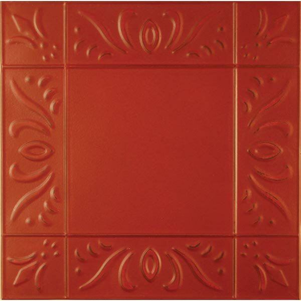 11 x 11 Metal Hand-Painted Tile in Red by Adams & Co