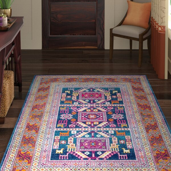 Delilah Navy Brown Area Rug By World Menagerie.