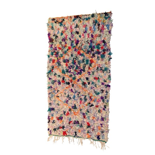 Boucherouite Azilal Hand-Woven Ivory/Blue Area Rug by Casablanca Market
