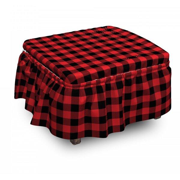 Plaid Retro Lumberjack Buffalo 2 Piece Box Cushion Ottoman Slipcover Set By East Urban Home