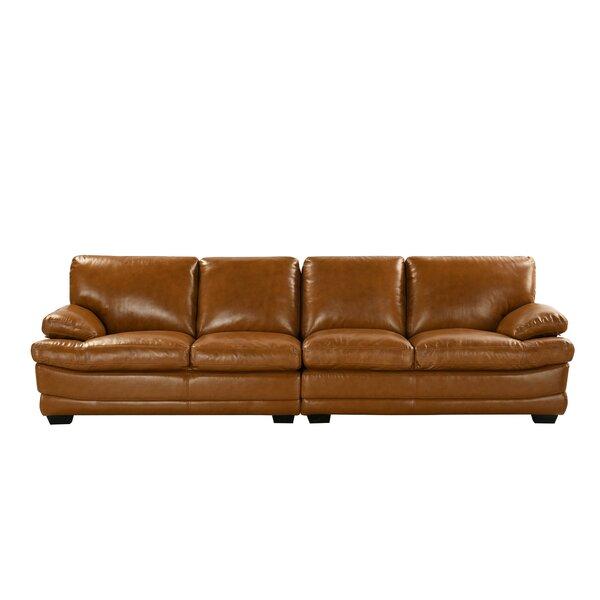 Gueye Overstuffed Leather Sofa by Latitude Run