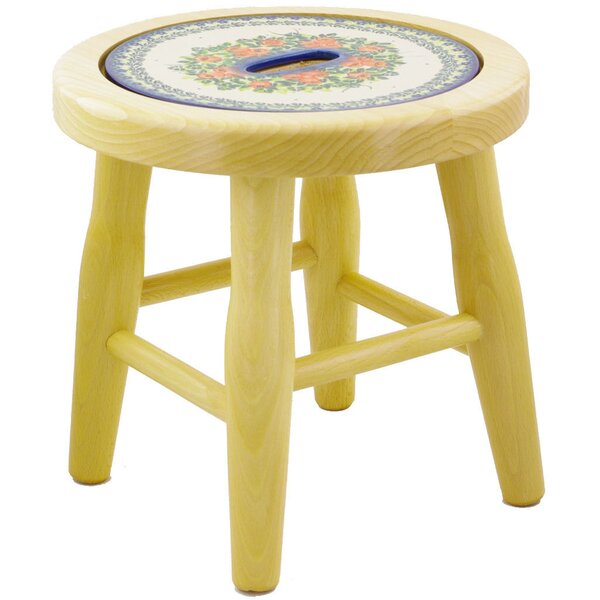 Radiant Polish Pottery Accent Stool by Polmedia