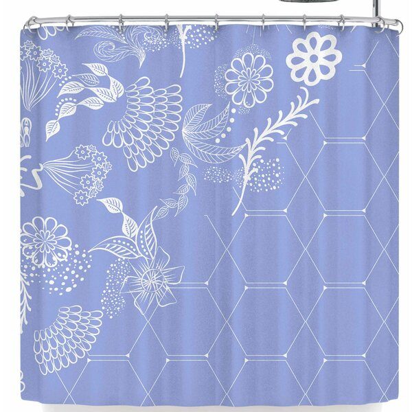 Famenxt Flora Summer Polygon Shower Curtain by East Urban Home