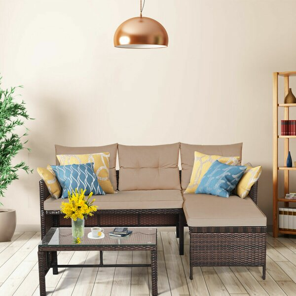 Agoura 3 Piece Rattan Sectional Seating Group with Cushions by Ebern Designs