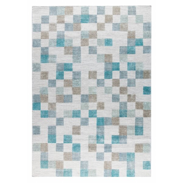 Kista Hand-Woven Aqua/Brown Area Rug by M.A. Trading