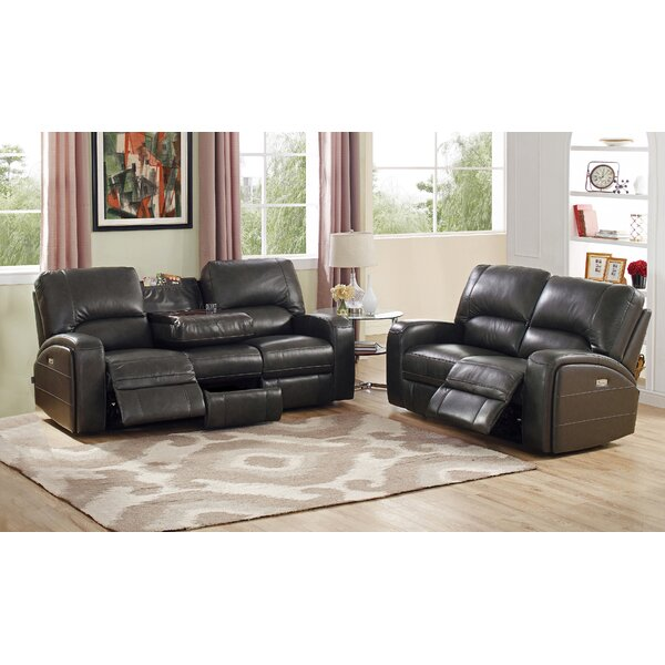 Woodhull Reclining Leather 2 Piece Living Room Set by Red Barrel Studio