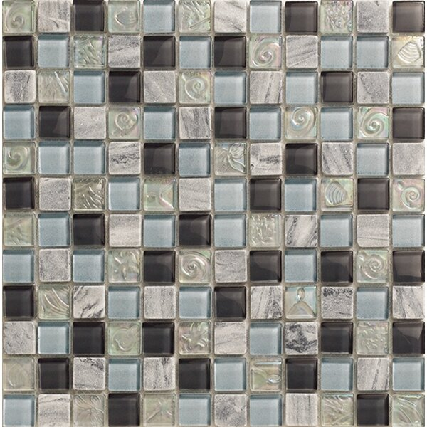 Yukon 1 x 1 Glass and Metal Mosaic Tile in Silver/Dark Blue by Kertiles