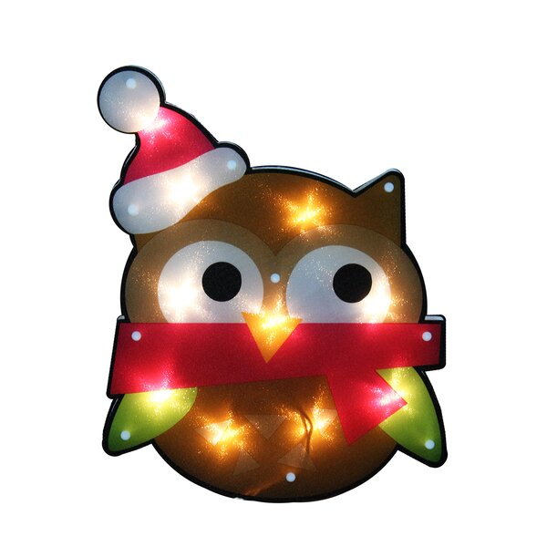Lighted Shimmering Owl with Santa Hat Christmas Window Silhouette Decoration by Northlight Seasonal