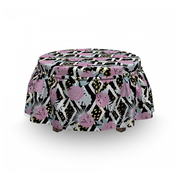 Grunge Blossoms Ottoman Slipcover (Set Of 2) By East Urban Home