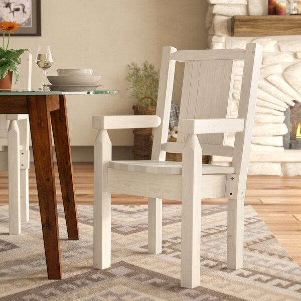 Abella Solid Wood Slat Back Arm Chair by Loon Peak Loon Peak