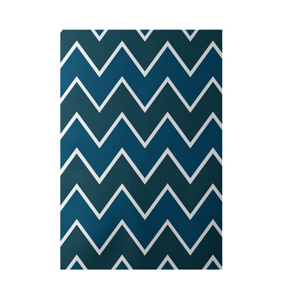 Chevron Hand-Woven Teal Indoor/Outdoor Area Rug by e by design