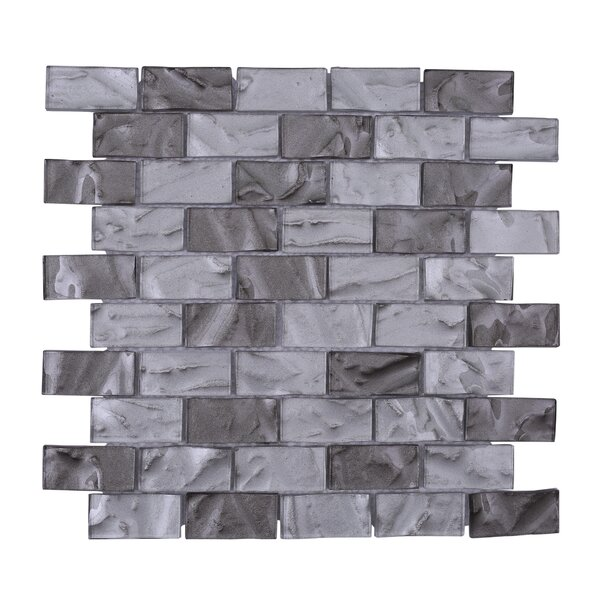 Barcelona 3D Wavy Brick 1 x 2 Glass Subway Tile in Gray by Vetromani
