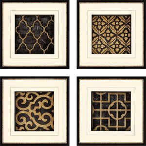 'Ebony' 4 Piece Framed Graphic Art Set (Set of 4) by Darby Home Co