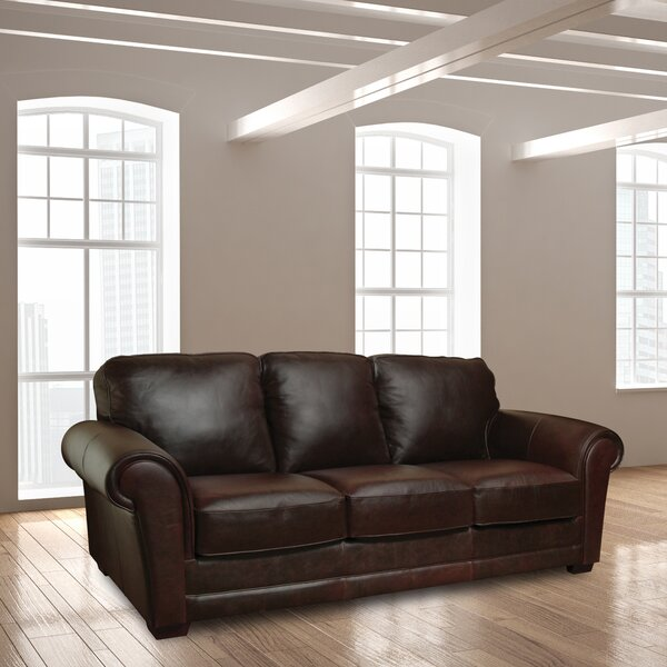 Nice Classy Buda Leather Sofa by Williston Forge by Williston Forge