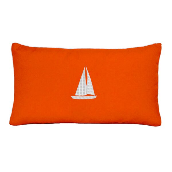 Hampden Sailboat Beach Outdoor Sunbrella Lumbar Throw Pillow by Beachcrest Home