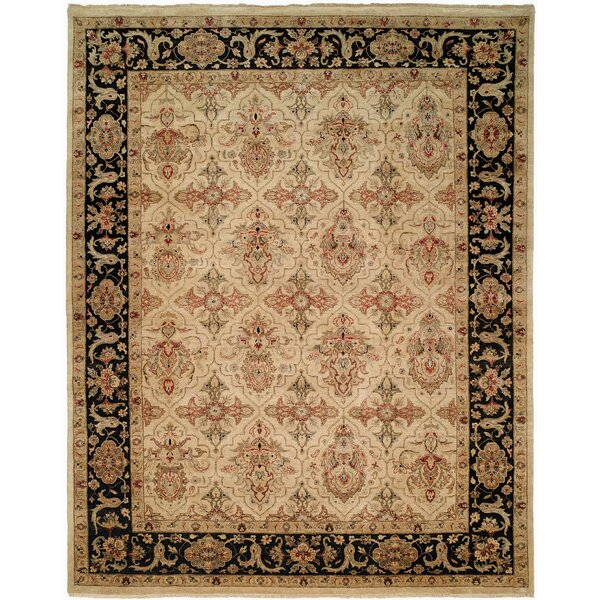 Maryville Hand Knotted Wool Ivory/Black Area Rug by Astoria Grand
