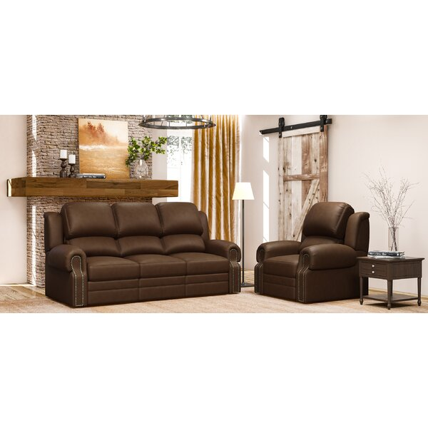 Hilltop 2 Piece Leather Reclining Living Room Set by Westland and Birch