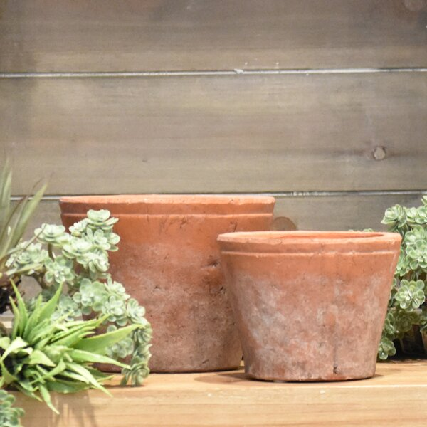 Heimann 2-Piece Ceramic Short Round Flower Pot Planter Set by Fleur De Lis Living