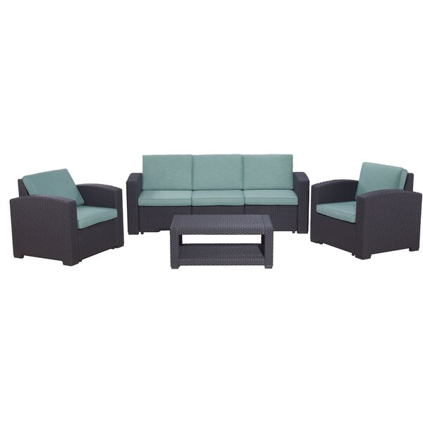 Blanchard 4 Piece Sofa Seating Group with Cushions by Highland Dunes Highland Dunes