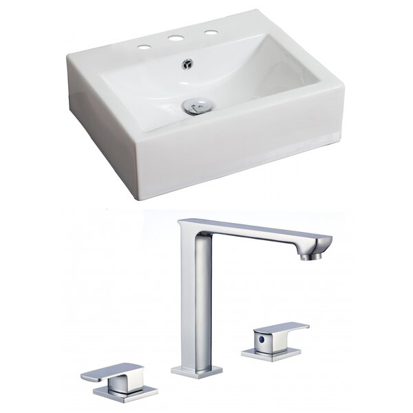 Ceramic 20 Wall Mount Bathroom Sink with Faucet and Overflow by American Imaginations