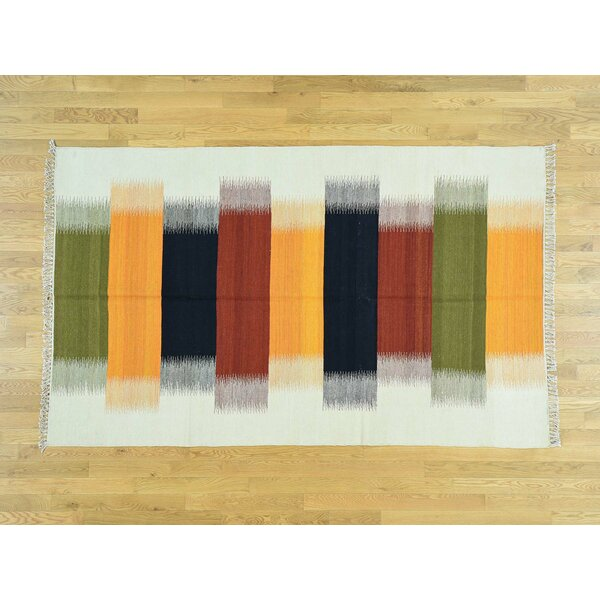 One-of-a-Kind Berwyck Handmade Kilim Orange/Green Wool Area Rug by Isabelline