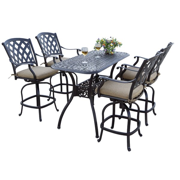 Parke Patio Counter Height 5-Piece Bar Set By Canora Grey