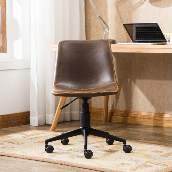 Florinda Faux Swivel Air Lift Office Chair by Williston Forge